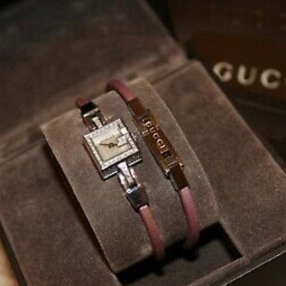 Gucci 102 G Mini Pink Satin & Diamond Watch